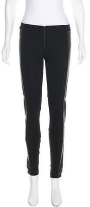 Alice + Olivia Leather-Trimmed Skinny Pants Black Leather-Trimmed Skinny Pants