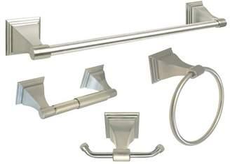 "eBuilderDirect Satin Nickel 4 Piece Bathroom Accessory Kit w/ 24"" Towel Bar"