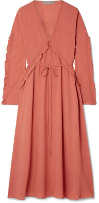 Bottega Veneta Ruffled Silk-georgette Midi Dress - Coral