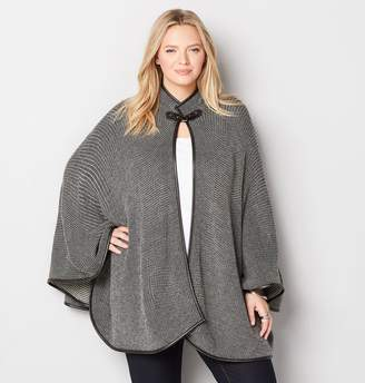 Avenue Buckle Clasp Faux Leather Cape