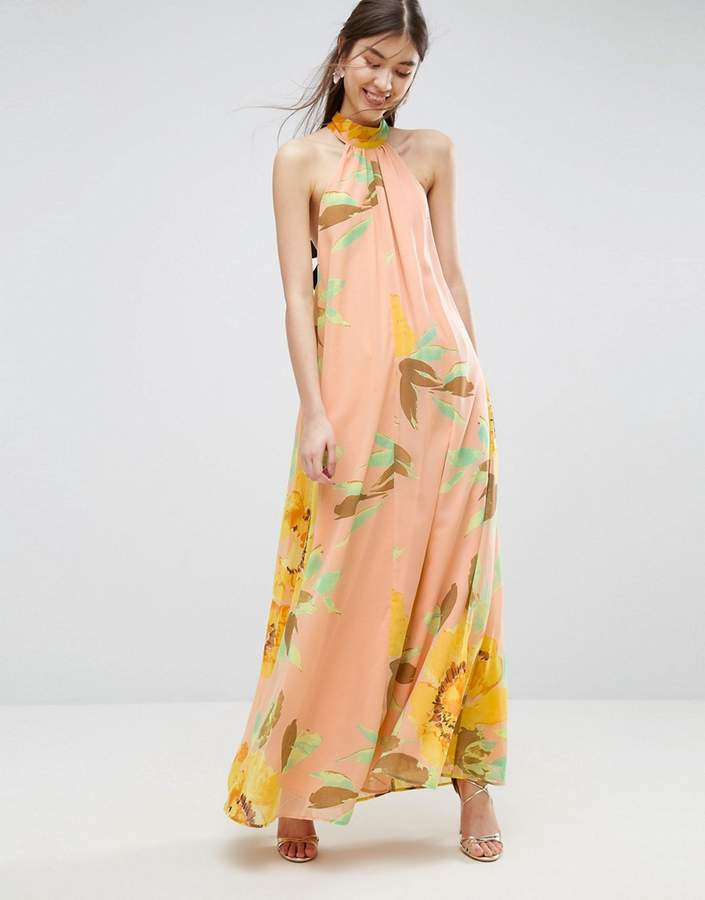 Asos ASOS Halter Floral Maxi Dress
