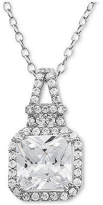 """Macy's Cubic Zirconia Halo 18"""" Pendant Necklace in Sterling Silver"""
