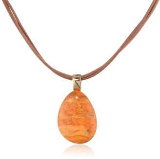 """Barse Basics"""" Orange Sponge Coral Pendant Necklace"""