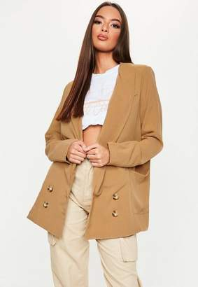 Missguided Camel Double Breasted Oversized Boyfriend Blazer
