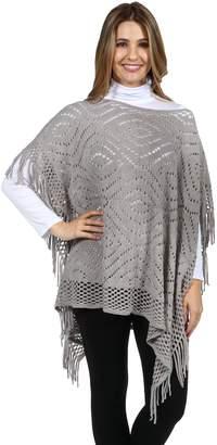 24/7 Comfort Apparel 24Seven Comfort Apparel Grey Monterey Women's Fringed Hem Sweater Poncho XL