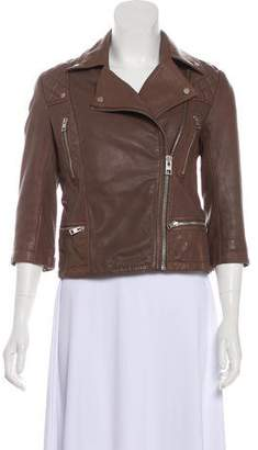 AllSaints Long Sleeve Leather Jacket