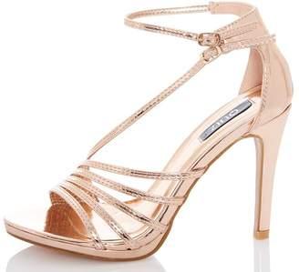 Quiz Rose Gold Metallic High Heels