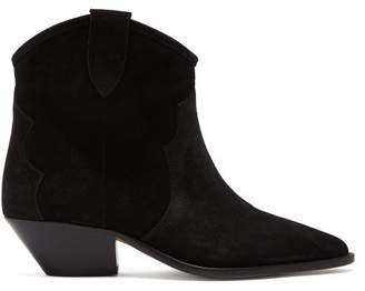 Isabel Marant Dewina Western Suede Ankle Boots - Womens - Black