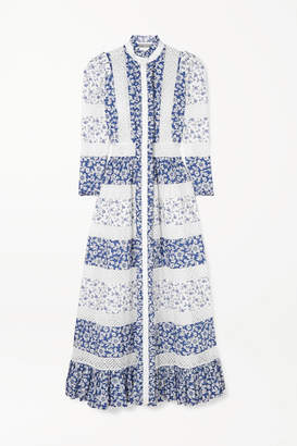 Alexander McQueen Crocheted Lace-trimmed Floral-print Cotton-poplin Maxi Dress - Blue