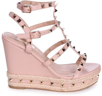 1a54e08fe257 Linzi SHANON - Nude Nappa Wedge With Studded Detail