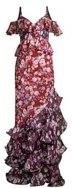 AMUR Moira Floral-Print Cold-Shoulder Silk Gown