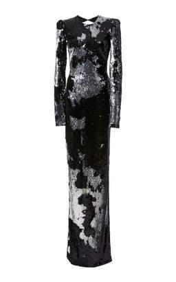 Naeem Khan Sequined Long Sleeve Gown