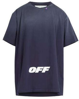 Off-White Off White Wing Off Oversized Cotton T Shirt - Mens - Blue