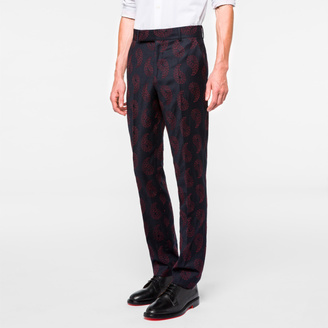 Men's Slim-Fit Navy Wool-Cashmere Embroidered Paisley Trousers $250 thestylecure.com
