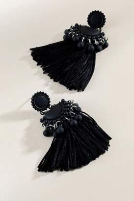 francesca's Cameron Beaded Tassel Drop Earrings - Black