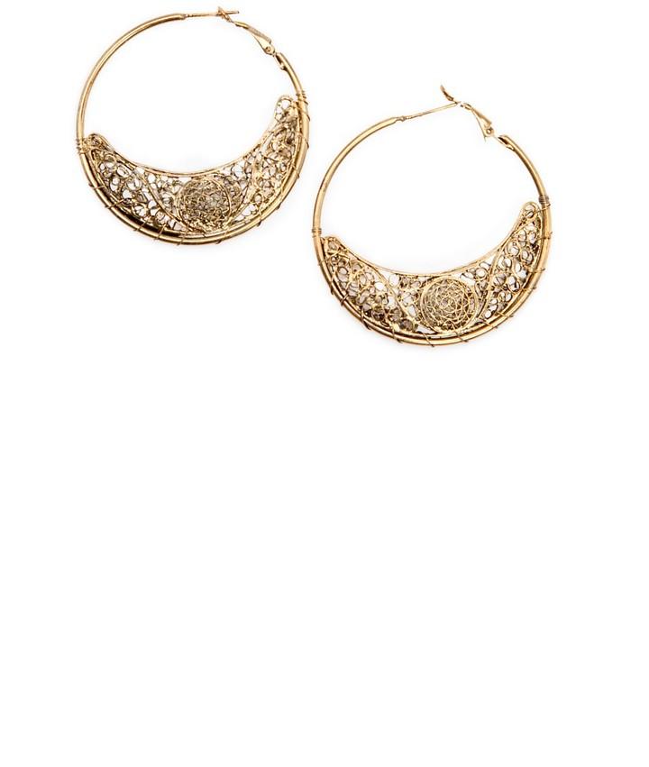 MANGO Half-moon hoop earrings