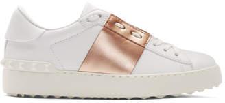 Valentino White and Gold Garavani Open Sneakers