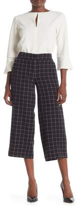 Jones New York Windowpane Plaid Wide Leg Crop Pants