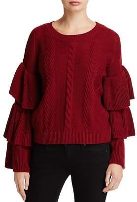 Elan International Tiered Ruffle Sleeve Sweater