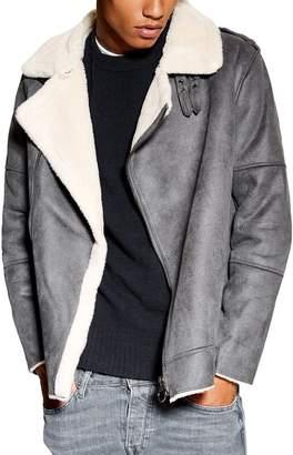 Topman Faux Shearling Biker Jacket