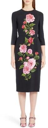 Women's Dolce&gabbana Placed Rose Print Cady Sheath Dress $2,495 thestylecure.com