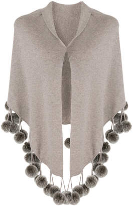 N.Peal cashmere pom pom shortsleeved shawl