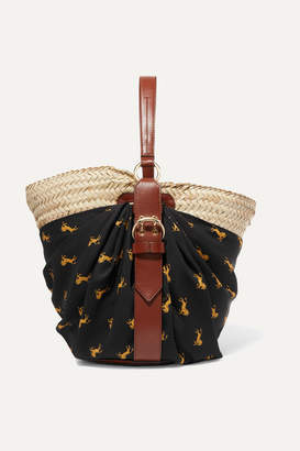 Chloé Panier Leather-trimmed Printed Twill And Woven Raffia Tote - Black