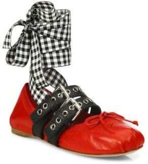 Miu Miu Double Strap Leather Lace-Up Ballet Flats $670 thestylecure.com