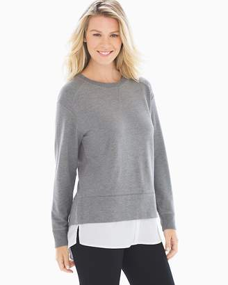 French Terry Modal Layered Look Sweatshirt Heather Graphite