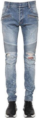 Balmain 15cm Slim Cotton Denim Biker Jeans