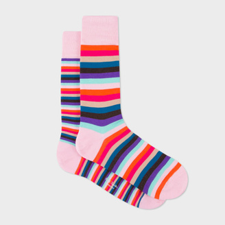 Men's Pink Multi-Coloured Stripe Odd Socks $30 thestylecure.com