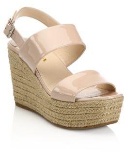 Prada Patent Leather Espadrille Platform Wedge Sandals