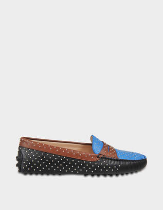 Tod's Gommino Micro Studs Moccasins in Black, Blue and Tan Calfskin