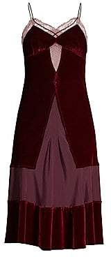 Le Superbe Le Superbe Women's Sigmonds Silk& Velvet Slip Dress