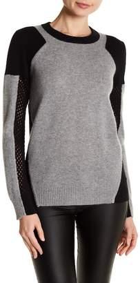 Minnie Rose Mesh Colorblock Cashmere Sweater