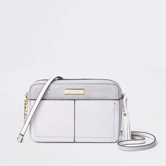 River Island Grey tassel boxy cross body bag