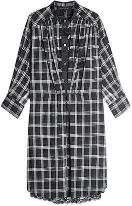 Marc Jacobs Checked Silk Dress with Lace Trim