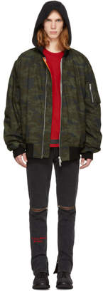 Unravel Green Camo Canvas Oversized Bomber Jacket
