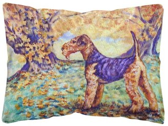 Caroline's Treasures Autumn Airedale Terrier Fabric Decorative Pillow