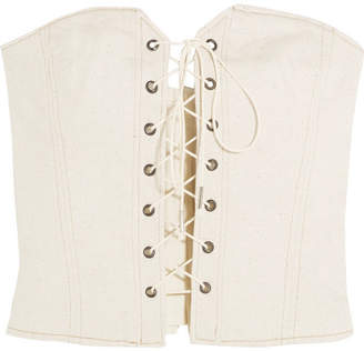 Isabel Marant Pryam Lace-up Cotton-blend Twill Corset - Ecru