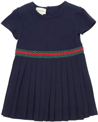 Gucci Cotton Pique Dress W/ Web Lace Detail