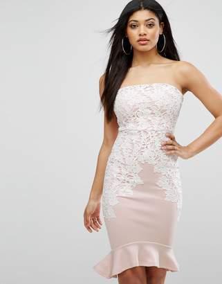 Lipsy Bandeau Pencil Dress With Crochet Lace Trim
