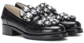 N°21 Crystal-embellished leather loafers