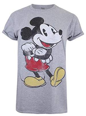 Disney Women's Mickey Mouse Vintage T-Shirt, (Sport Grey SPO), (Size:X-Large)