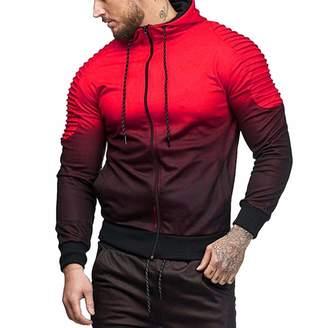 b1fbcc9cb Mens Hoodies Pervobs Mens' Autumn Winter Long Sleeve Splicing Fold Hooded  Coat Sweatshirt Tracksuits(