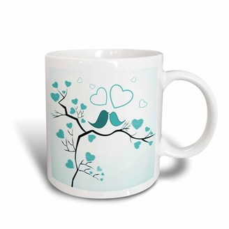 3dRose Two Kissing Love Birds and Hearts In Turquoise, Ceramic Mug, 15-ounce