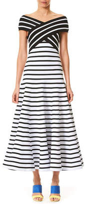 Carolina Herrera Off-the-Shoulder Fit-and-Flare Striped Tea-Length Knit Dress