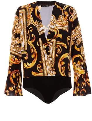 Quiz Black And Gold Scarf Print Bodysuit
