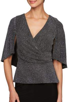 Alex Evenings Printed Capelet-Sleeve Blouse