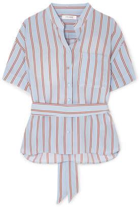 Frame Belted Striped Silk Shirt - Blue